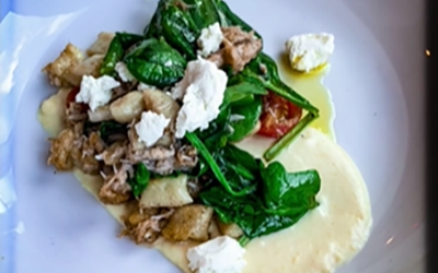 Potato Gnocchi with Dungeness Crab and Sweet Corn Puree with Park City Mayflower Goat Feta